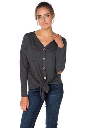 Tie-Front Sweater with Elbow Patches
