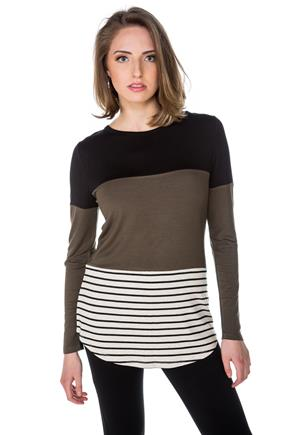 Stripe and Colour-Blocked Long Sleeve Top