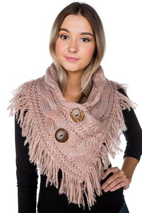 Shoulder Warmer with Coconut Buttons and Fringe
