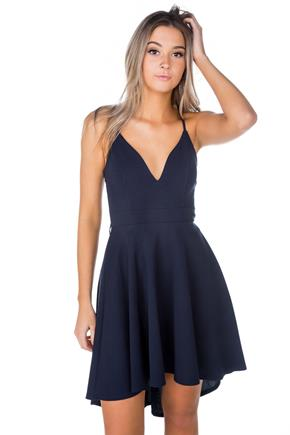 High Low Skater Dress with Lace Zipper Back