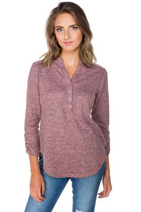 3/4 Sleeve Henley Top with Lace