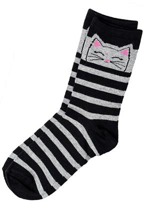 Stripe Kitty Cat Sock