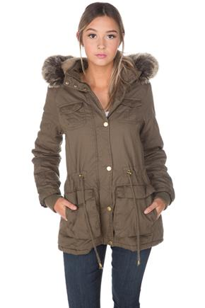 YMI Four Pocket Anorak with Removable Faux Fur Trim Hood