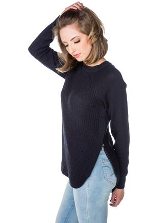 Long Sleeve Crewneck Sweater with Zippered Slits