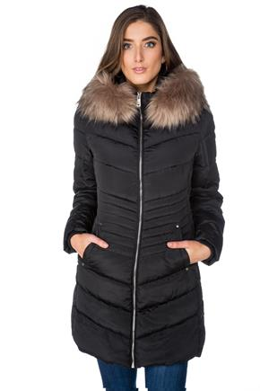 Tattoo Quilted Parka with Faux Fur Trim Hood