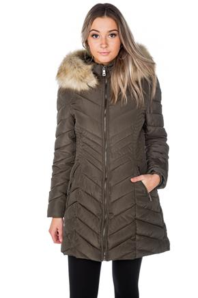 Tattoo Chevron Quilted Parka with Faux Fur Trim Hood