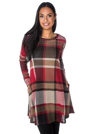 Plaid Swing Dress with Pockets