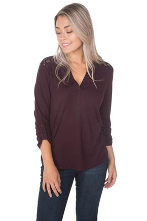 Henley Lace Trim Top with Roll-Up Sleeves