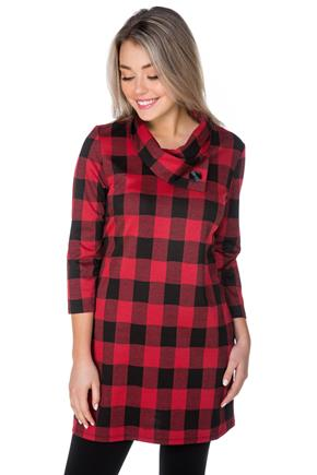 Charlie Buffalo Plaid Dress with Split Collar