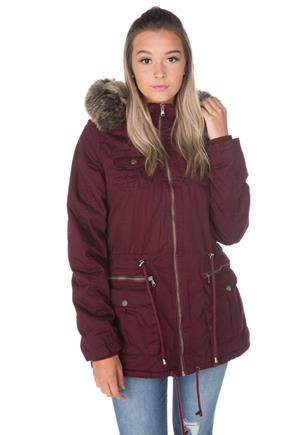YMI Six Pocket Anorak with Faux Fur Trim Hood