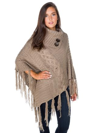 Poncho with Button Split Neck