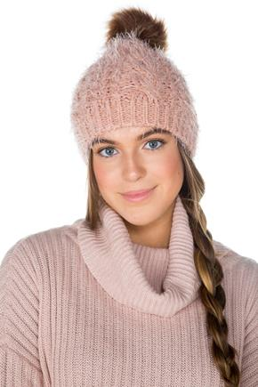 Soft Fuzzy Hat with Faux Fur PomPom