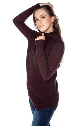 Long Sleeve Turtleneck with Angled Hem