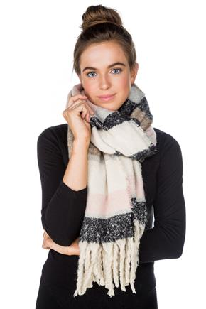 Ultrasoft Stripe Oversized Scarf with Tassels
