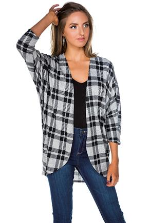 Plaid Cocoon Cardigan