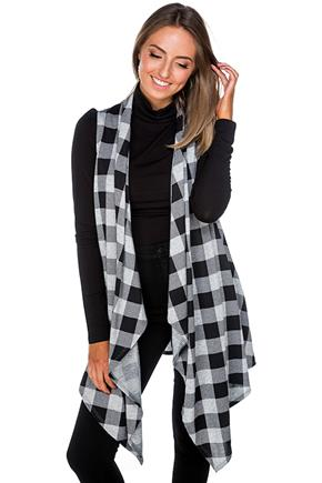 Buffalo Plaid Vest with Pockets