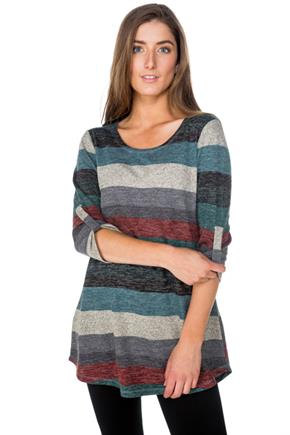 Stripe Tunic with Rolled-Up Sleeves