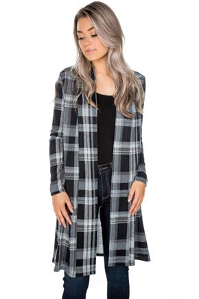 Plaid Longline Open Cardigan