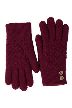 Textured Glove with Buttons