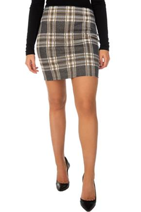 Plaid Double Knit Bodycon Skirt