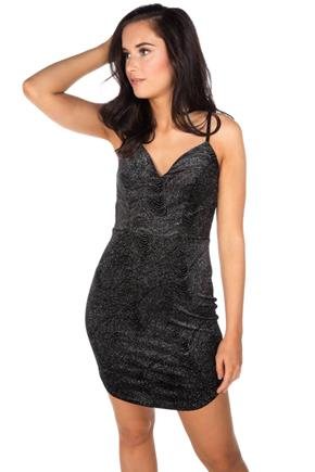 Glitter Swirl Velvet Bodycon Dress