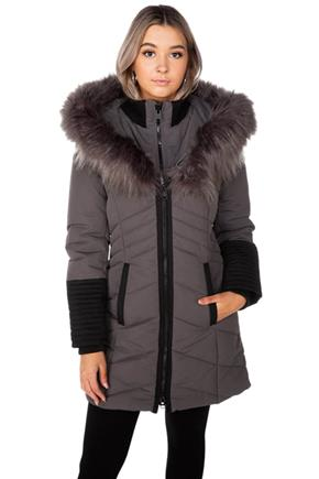 Point Zero Oxford Quilted Parka with Faux Fur Trim Hood