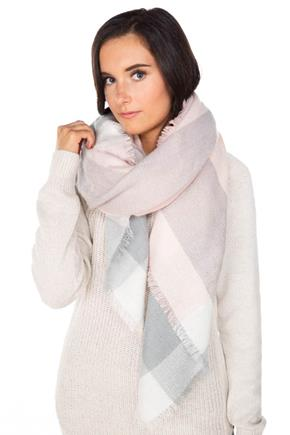 Pink and Grey Plaid Blanket Scarf