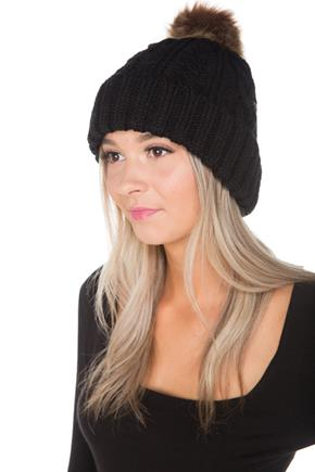 Cable Knit Hat with Faux Fur Pompom