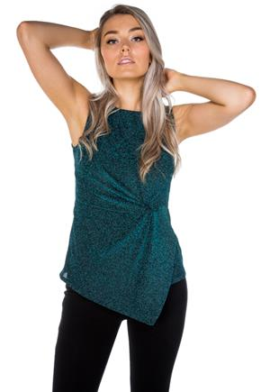 Turquoise Glitter Sleeveless Top with Knotted Front