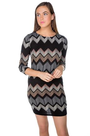 Chevron 3/4 Sleeve Bodycon Dress