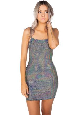 Iridescent Sequin Spaghetti Strap Bodycon Dress