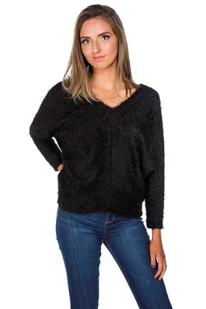 Fuzzy Double V-Neck Sweater