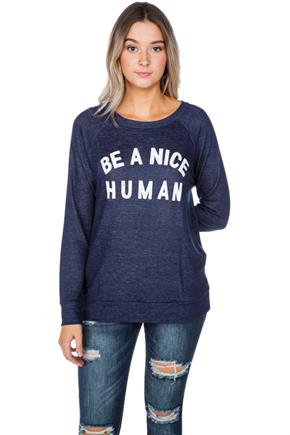 'Be a Nice Human' Graphic Sweatshirt