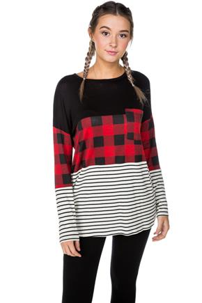 Buffalo Plaid and Stripe Tunic with Pocket