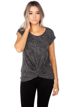 Glitter Swirl Top with Knotted Front