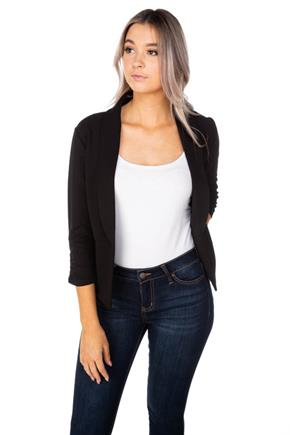 Cropped 3/4  Ruched Sleeve Blazer