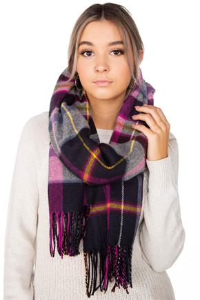 Navy and Fuchsia Plaid Oblong Scarf with Fringe