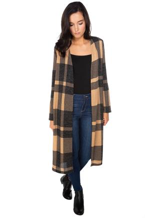 Plaid Long Sleeve Duster Cardigan