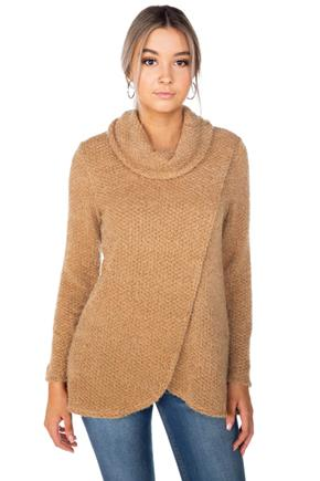 Fuzzy Chenille Cowl Neck Sweater with Crossover Hem