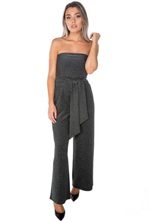 Glitter Strapless Jumpsuit with Tie-Belt