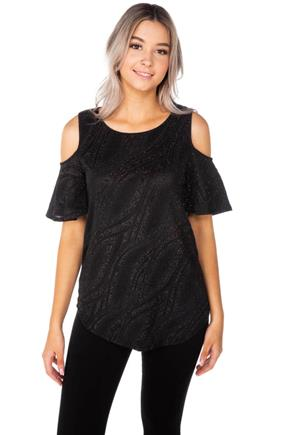 Glitter Wave Cold Shoulder Top