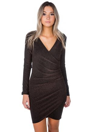 Glitter Long Sleeve Crossover Dress