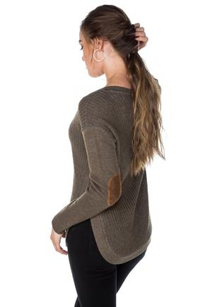 V-Neck Sweater with Elbow Patches and Side-Slits