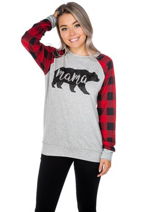 """Mama"" Bear Sweatshirt with Buffalo Plaid Sleeves"