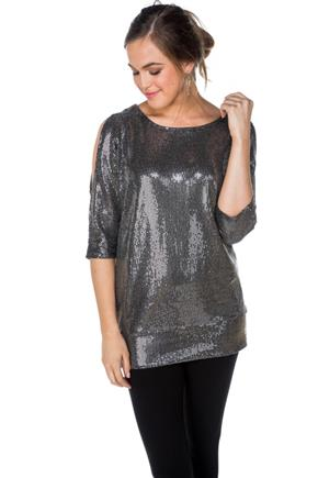 Sequin Cold Shoulder Dolman Top
