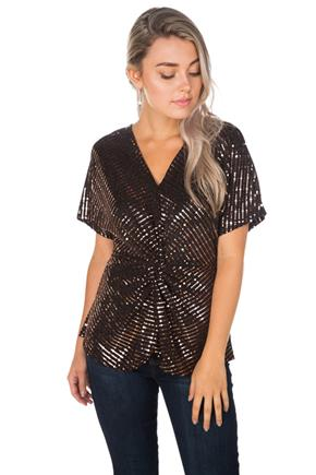 Sequin Knotted Front Top