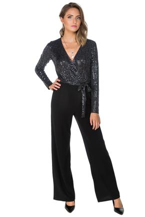Sequin Crossover Jumpsuit with Long Sleeves