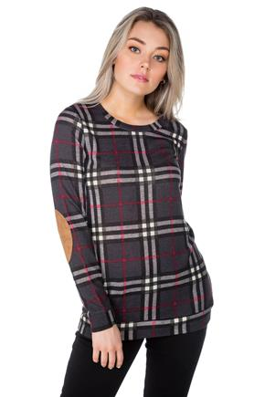 Plaid Tunic with Elbow Patches