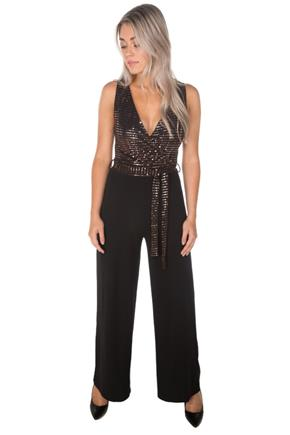 Sequin Sleeveless Crossover Jumpsuit