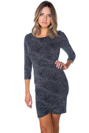 Glitter Swirl Ruched 3/4 Sleeve Dress